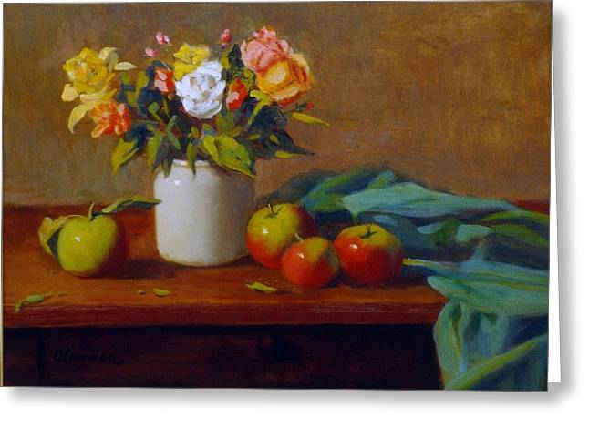 Apples And Flowers Greeting Card by David Olander