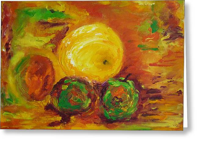 Apples And Grapefruit Greeting Card by Peter Silkov