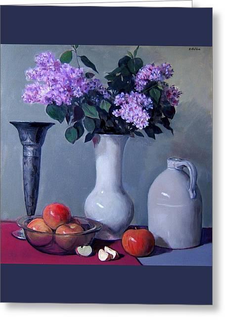 Apples And Lilacs, Silver Vase, Vintage Stoneware Jug Greeting Card