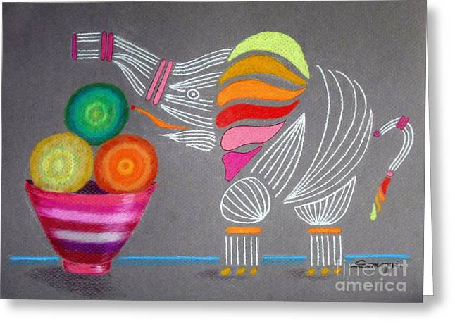 Apples And Oranges And Elephants, Oh My -- Whimsical Still Life W/ Elephant Greeting Card