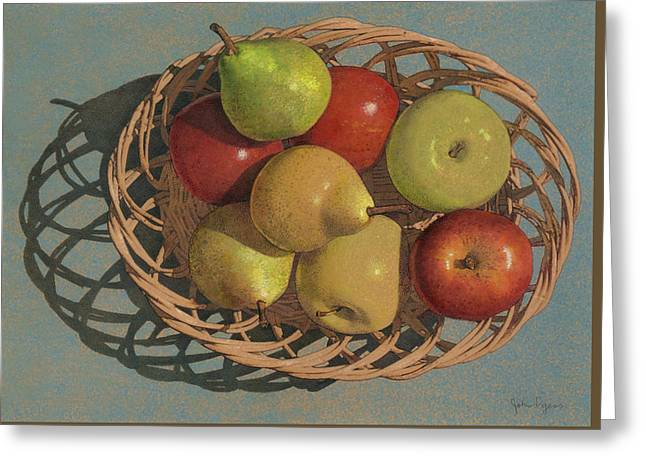 Apples And Pears In A Wicker Basket  Greeting Card
