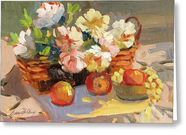 Apples And Peonies Greeting Card by Diane McClary
