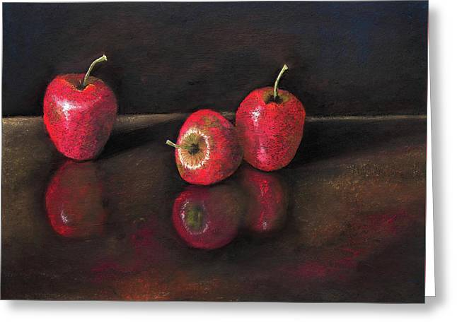 Apples And Reflections Greeting Card by Nirdesha Munasinghe