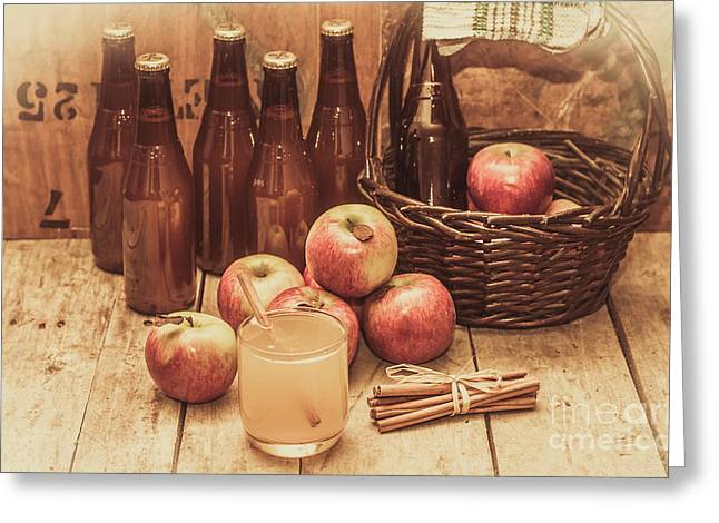 Apples Cider By Wicker Basket On Wooden Table Greeting Card