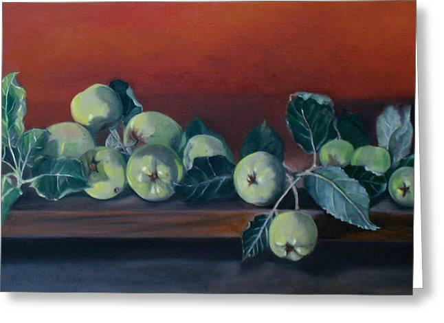 Apples From The Farm Greeting Card by Bertica Garcia-Dubus