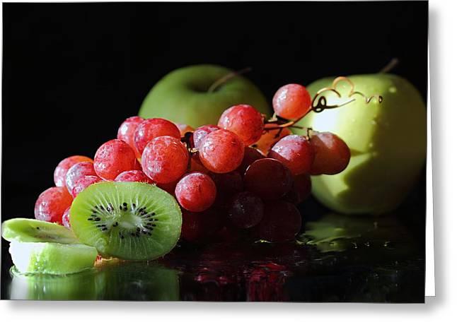 Apples, Grapes And Kiwi  Greeting Card