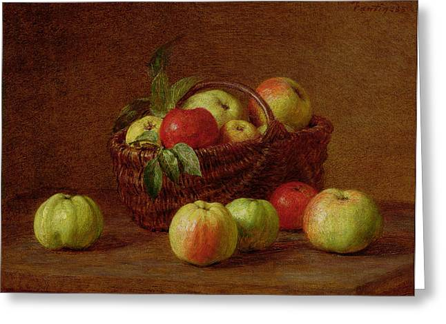Apples In A Basket And On A Table Greeting Card