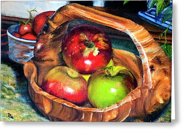Apples In A Burled Bowl Greeting Card