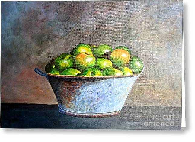 Apples In A Rusty Bucket Greeting Card