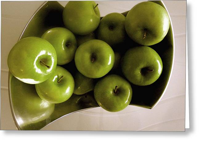 Apples In A Silver Vase 2 Greeting Card by Fanny Diaz