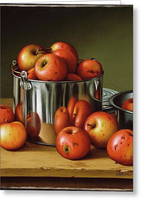 Apples In A Tin Pail Greeting Card by Levi Wells