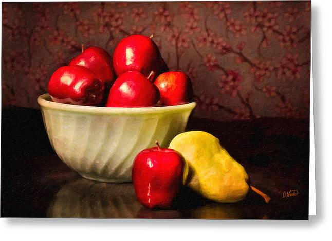 Apples In Bowl With Pear Greeting Card