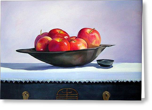Apples Greeting Card by Marie Dunkley