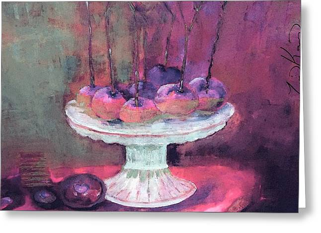 Apples On Cake Plate With Chocolate Cherry Cookie Painting Greeting Card by Lisa Kaiser