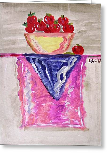 Greeting Card featuring the painting Apples On Table With Colorful Scarf by Mary Carol Williams