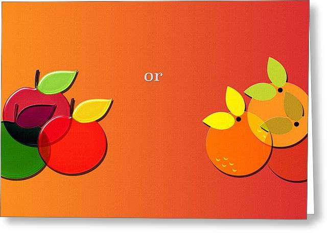 Apples Or Oranges Greeting Card by Steve Ohlsen