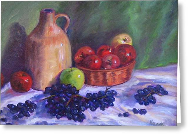 Apples With Grapes Greeting Card by Richard Nowak