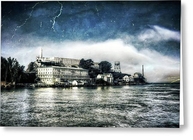 Approaching Alcatraz Island By Boat Greeting Card