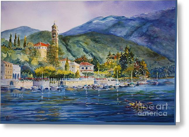 Approaching Bellagio Greeting Card by Betsy Aguirre