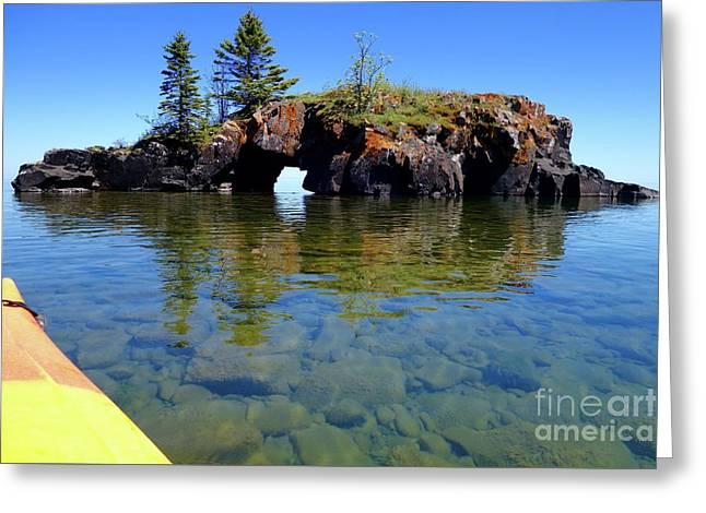Approaching Hollow Rock Greeting Card by Sandra Updyke