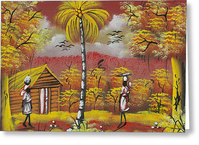 Approaching On The Path Greeting Card by Herold Alvares