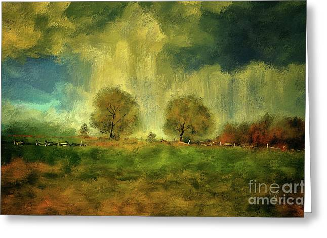 Greeting Card featuring the digital art Approaching Storm At Antietam by Lois Bryan