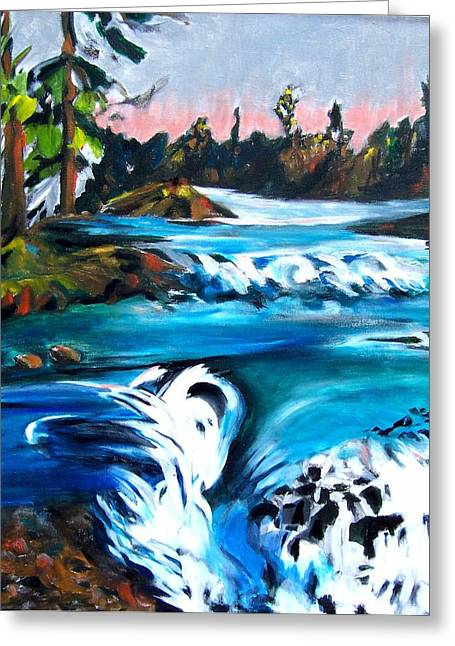 Approaching The Falls Greeting Card by Patricia Bigelow