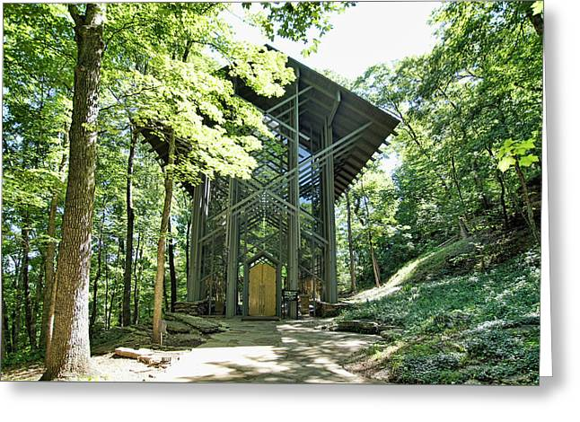 Greeting Card featuring the photograph Approaching Thorncrown Chapel by Cricket Hackmann