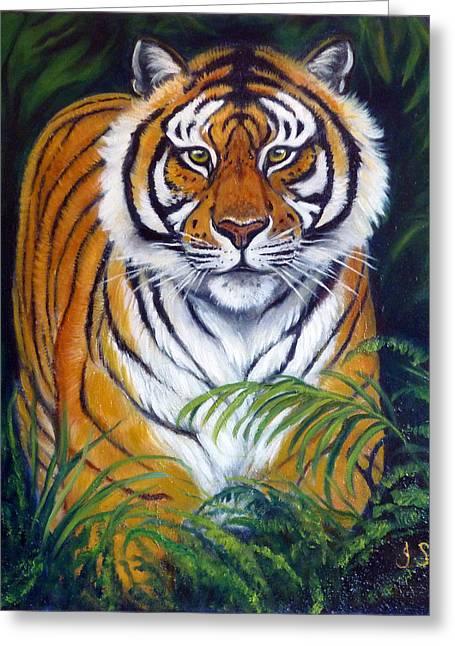 Approaching Tiger Greeting Card by Janet Silkoff