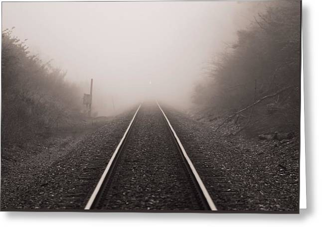 Approaching Train In Fog Greeting Card by Dan Sproul