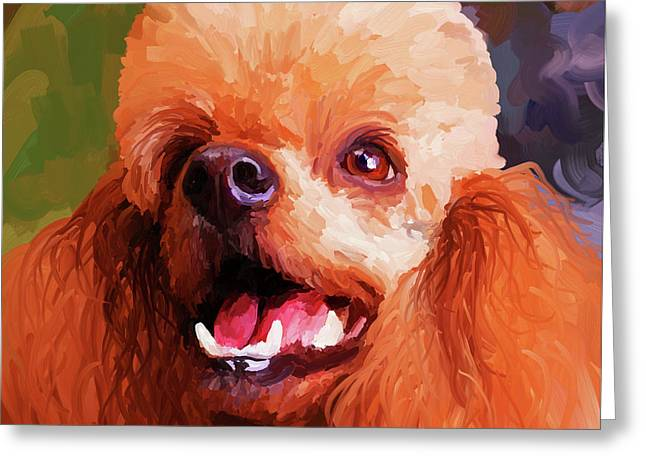 Apricot Poodle - Square Greeting Card by Jai Johnson