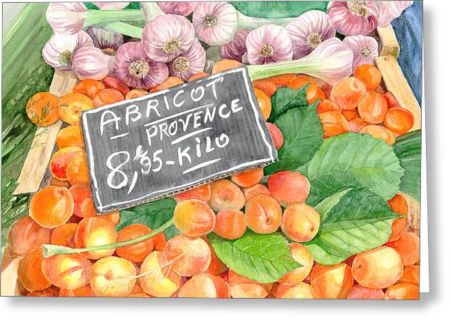 Apricots In An Open Air Market In Nice, France, 10 X 14 Greeting Card by Olga Belyaeva