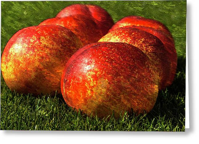 Apricots On Grass Oil Painting Greeting Card by Design Turnpike