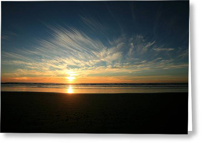 April Beach Sunset Greeting Card by Mike Coverdale