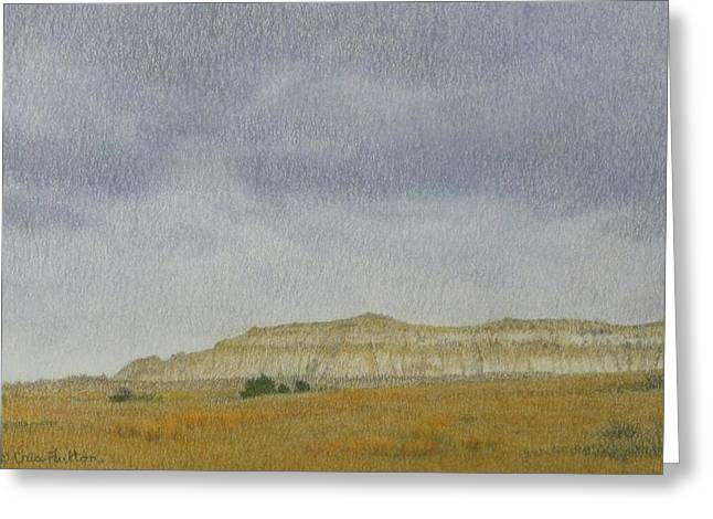 Greeting Card featuring the pastel April In The Badlands by Cris Fulton