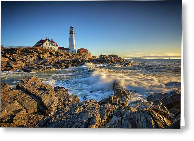 April Morning At Portland Head Greeting Card by Rick Berk
