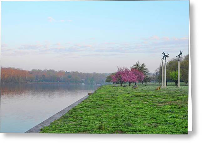 April Morning On The Scyuylkill River In Fairmount Park - Philad Greeting Card by Bill Cannon