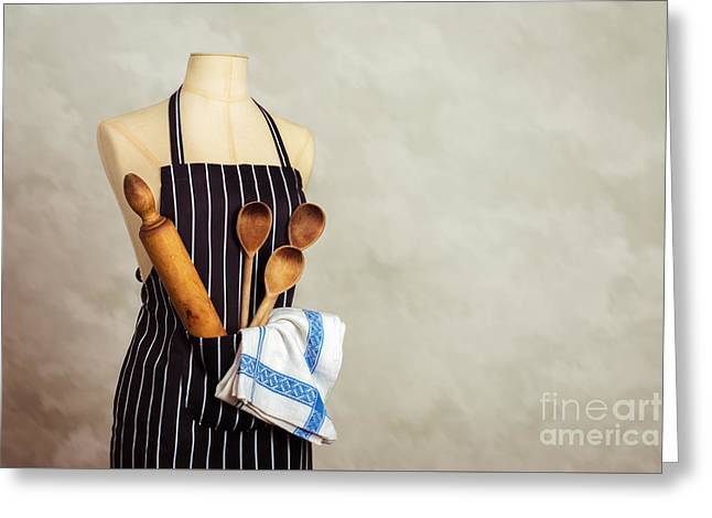 Apron And Baking Utensils Greeting Card by Amanda Elwell