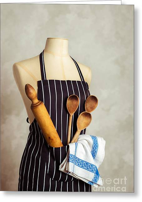 Apron With Utensils Greeting Card by Amanda Elwell