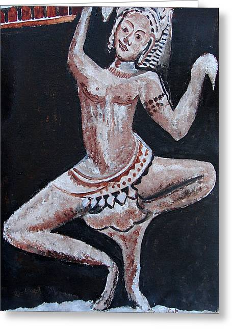 Greeting Card featuring the painting Apsara-2 by Anand Swaroop Manchiraju