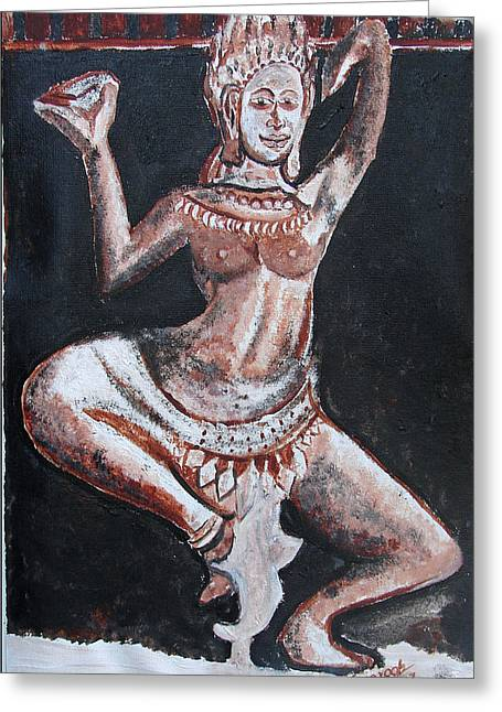 Greeting Card featuring the painting Apsara Dancing by Anand Swaroop Manchiraju