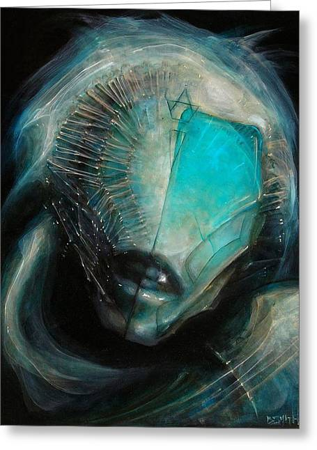 Aqua Alien Greeting Card by Robert Anderson