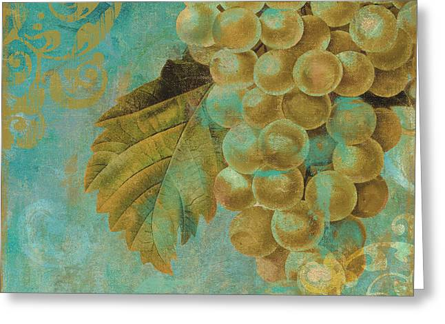 Aqua And Gold Grapes Greeting Card by Mindy Sommers