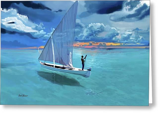 Aqua Blue And Ulua Greeting Card by Brad Burns