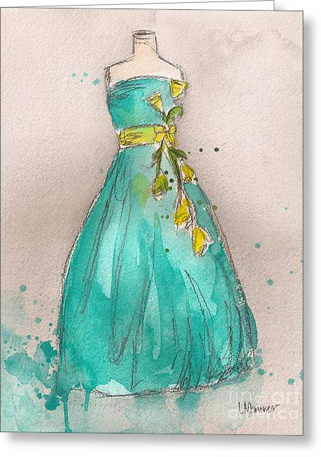 Aqua Dress Greeting Card by Lauren Maurer