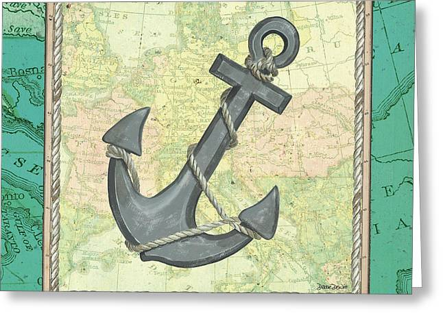 Aqua Maritime Anchor Greeting Card by Debbie DeWitt