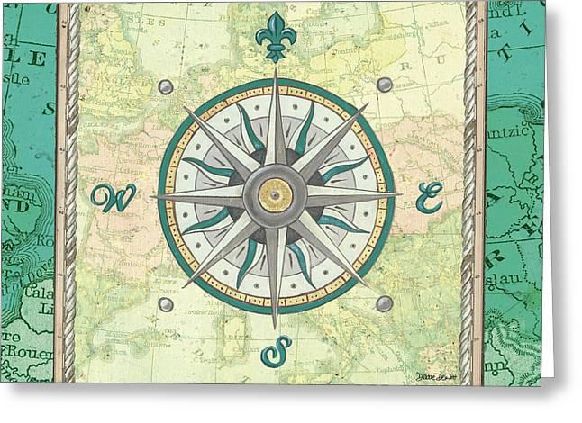 Aqua Maritime Compass Greeting Card