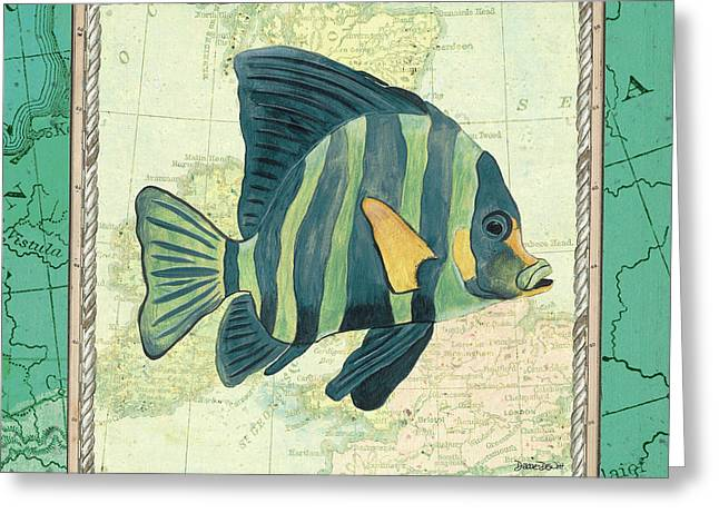 Aqua Maritime Fish Greeting Card by Debbie DeWitt