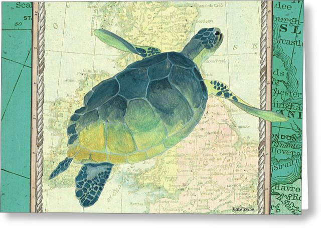 Aqua Maritime Sea Turtle Greeting Card by Debbie DeWitt