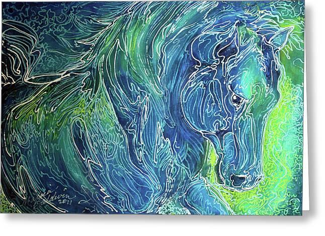 Aqua Mist Equine Abstract Greeting Card by Marcia Baldwin